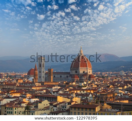 Cathedral Santa Maria del Fiore at sunrise. Florence, Italy - stock photo