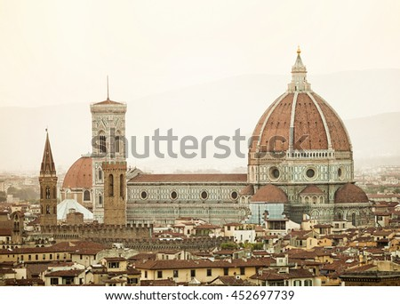 Cathedral Santa Maria del Fiore at sunset, Florence, Italy