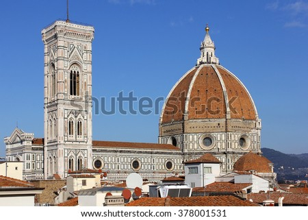 cathedral Santa Maria del Fiore (Duomo) and giottos bell tower (campanile), Florence, Tuscany, Italy - stock photo