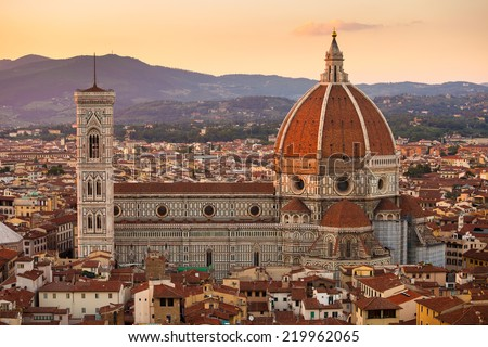 Cathedral Santa Maria del Fiore in Florence city view, Italy - stock photo