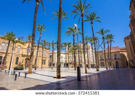 Cathedral Square in Almeria, Spain - stock photo