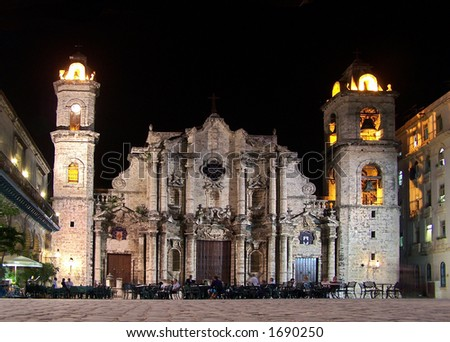 Cathedral square in Old Havana (Cuba) - stock photo