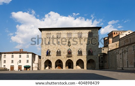 Cathedral square (Piazza Duomo) with the town hall. Pistoia, Tuscany, Italy - stock photo