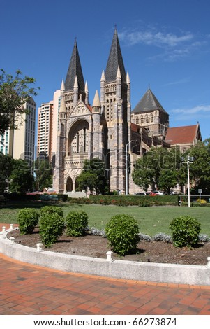 Cathedral Square with St. John's Cathedral (Anglican) in Brisbane, Queensland, Australia. - stock photo