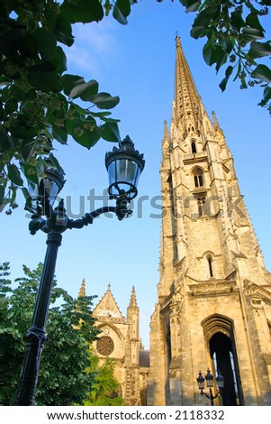 Cathedral tower from Bordeaux, France - stock photo