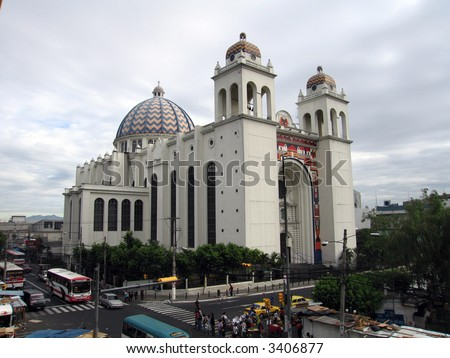 Cathedral View (San Salvador, El Salvador) from the Palace - stock photo
