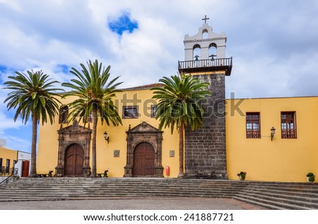 Cathedral with palm trees on town square in La Orotava, Tenerife, Canary Islands, Spain - stock photo