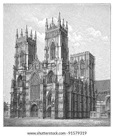 Cathedral york minster england vintage illustration from meyers konversations lexikon 1897
