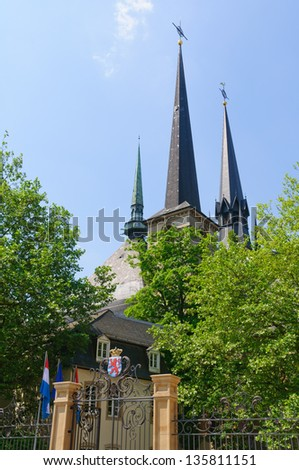 Cathedrale Notre-Dame in the City of Luxembourg - stock photo