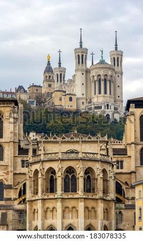 Cathedrale Saint Jean and Basilique Notre Dame de Fourviere in Lyon - stock photo