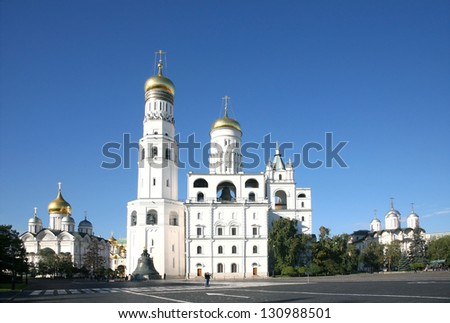 Cathedrals of the Moscow Kremlin. Russia - stock photo