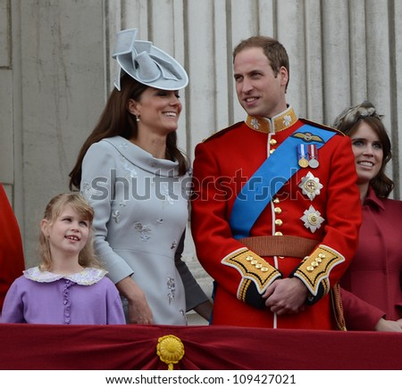 Catherine Duchess of Cambridge and Prince William attend the Trooping Of The Colour at Horse Guards Parade, London, UK. June 16, 2012, Picture: Catchlight Media / Featureflash - stock photo