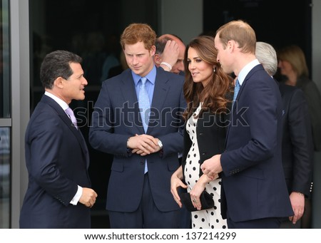 Catherine Duchess of Cambridge, HRH Prince William and HRH Prince Harry attending the Inauguration of Warner Bros. Studios. 26/04/2013 - stock photo