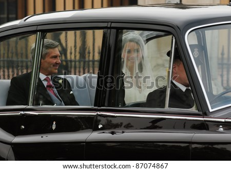 Catherine Middleton, with her father Michael, as she travels to Westminster Abbey, to marry Prince William, on 29/04/2011. Picture by: Simon Burchell / Featureflash - stock photo