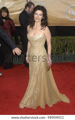 CATHERINE ZETA-JONES at the 10th Annual Screen Actors Guild Awards in Los Angeles. February 22, 2004 - stock photo