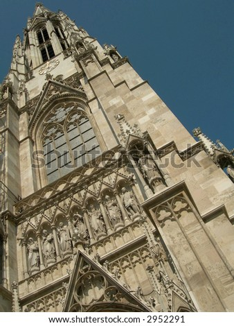 Catholic church detail of bell towers in Vienna, Austria. - stock photo