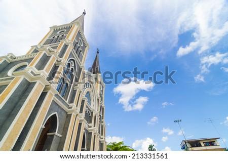Catholic church in Chantaburi province, Thailand. - stock photo