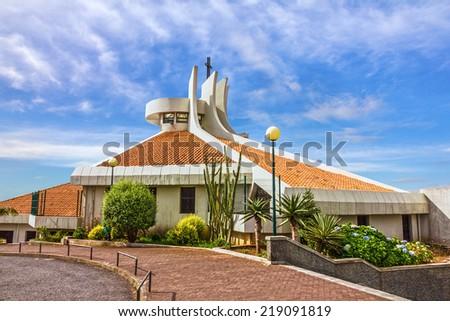 Catholic church in Madeira island, Portugal - stock photo
