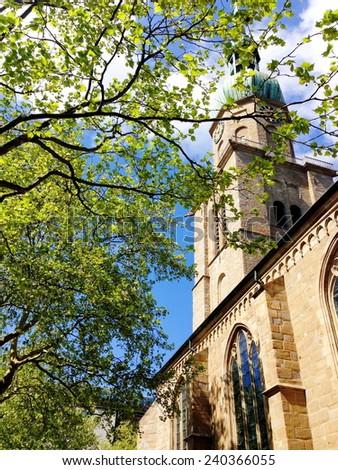 Catholic church in spring, Dortmund, Germany - stock photo