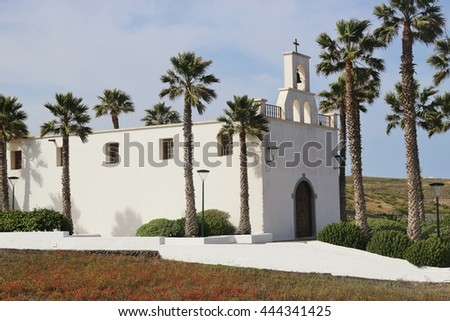 Catholic church in the village Ye, on North Lanzarote, Canary Islands, Spain. Ye is located near the Mirador del Rio.