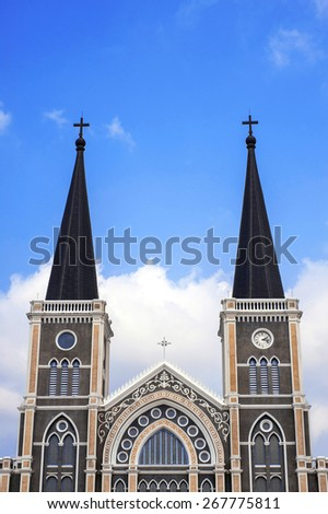 Catholic church of Maephra Patisonti Niramon located in Chantaburi province, Thailand. This is an iconic of Chantaburi built by Vietnamese with French Style - stock photo