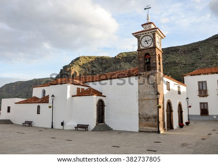 Catholic church of San Juan de Batista (Iglesia San Juan de Batista) San Juan de la Rambla, Tenerife, Canary Islands, Spain - stock photo
