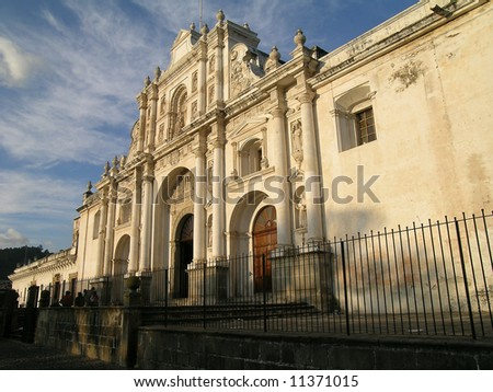 Catholic Church with sunset light in Antigua City, Guatemala with - stock photo