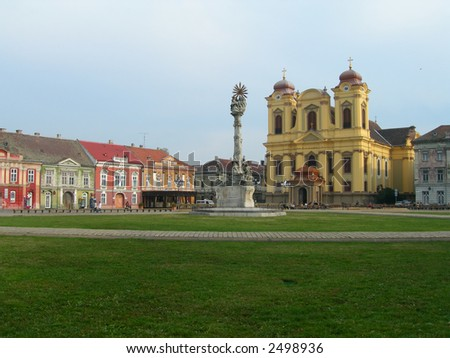 Catholic Dome in the Unirii Plaza, City of Timisoara - Romania - stock photo