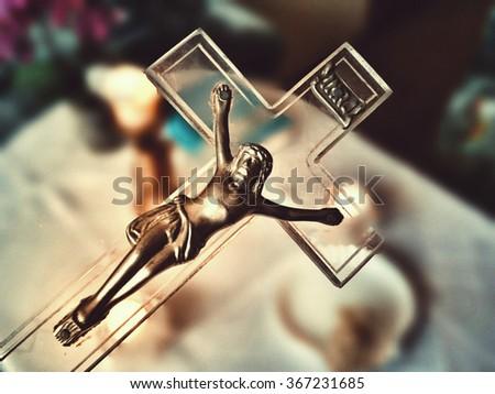 Catholic equipment. Pastoral Visit the Solemnity of the Epiphany, Epiphany carol. The Polish Catholic family. - stock photo