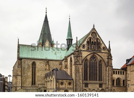 Catholic Paderborn Cathedral  is mainly of the 13th century. The western tower of the 12th century is 93 m high.