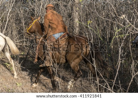 CATIMBAU NATIONAL PARK, STATE OF PERNAMBUCO, BRAZIL - October 10, 2014 - A Typical Cowboy of caatinga, in northeast of Brazil