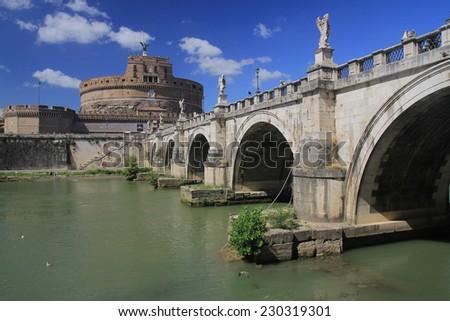 Catle and bridge in Vatican - stock photo