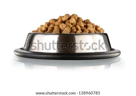 Cats and dogs dry food  in the stainless steel bowl - stock photo