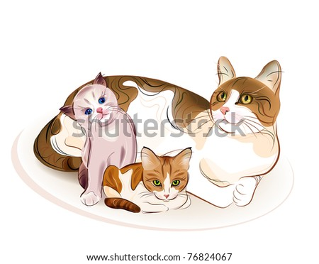 Cats family. Cat and  two kittens. - stock photo