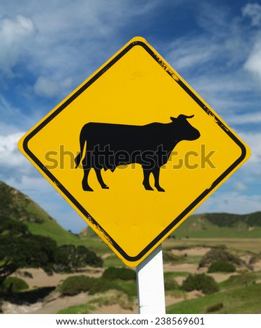 Cattle sign, New Zealand - stock photo