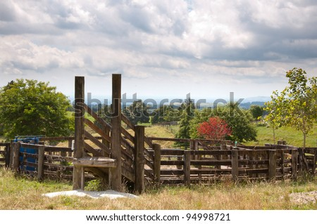 Cattle yards in New Zealand - stock photo