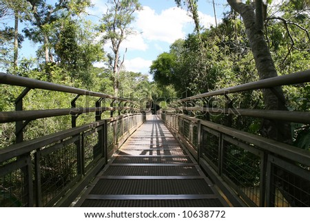 Catwalk nature trail at the Argentina side of Iguazu Falls - stock photo