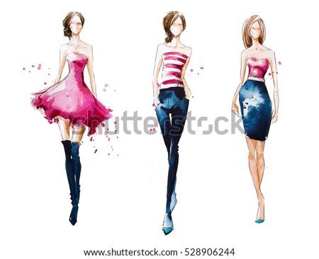 Catwalk Watercolor Fashion Illustration Stock Illustration 528906244 Shutterstock