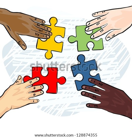 caucasian african asian indian american human hands holding pieces of puzzle colorful illustration raster version