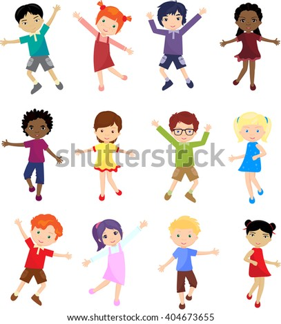Caucasian, african, chinese, japanese and other multinational boys and girls jump, laugh and dance together - stock photo