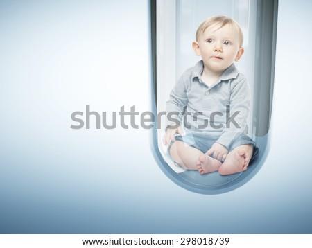 caucasian baby in test tube 3d - stock photo
