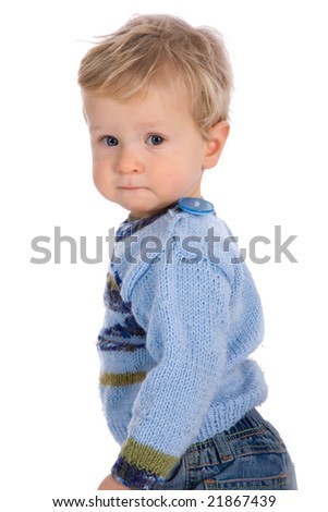 caucasian baby on white background