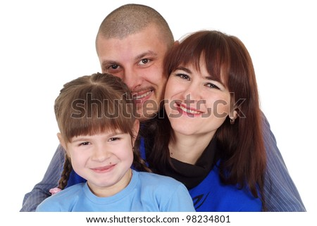 Caucasian beautiful family consisting of three people on a white background