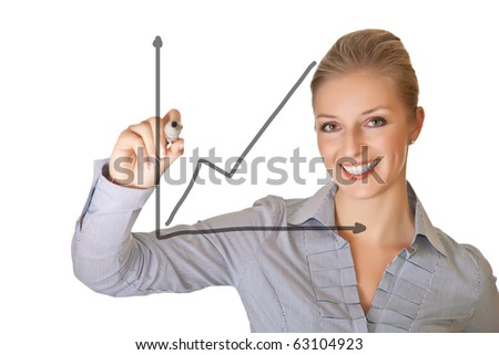 Caucasian blond business woman writing on white isolated background - stock photo