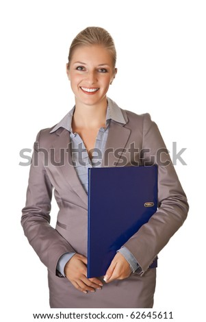 Caucasian blond businesswoman in suit holding ring binder on white isolated background - stock photo