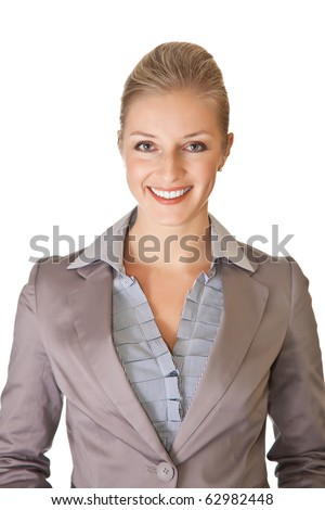 Caucasian blond businesswoman in suit on white isolated background - stock photo