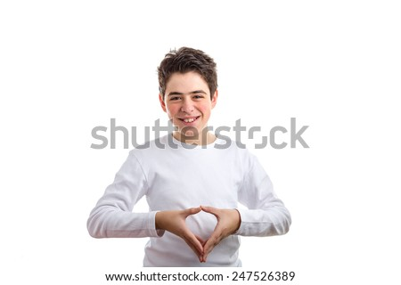 Caucasian boy with acne-prone skin in a white long sleeved t-shirt makes reverse hand steeple gesture - stock photo