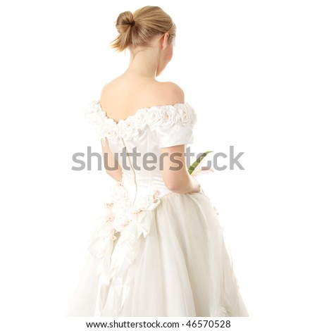 Caucasian bride in long dress isolated on white background - stock photo