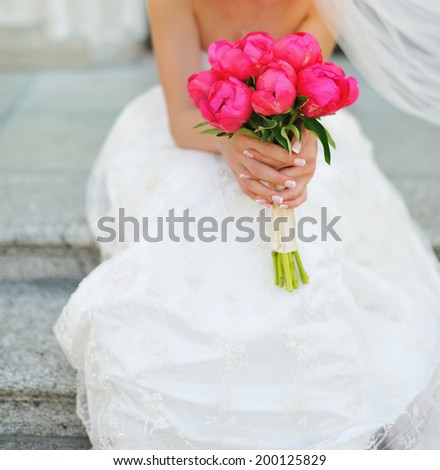 Caucasian bride on wedding day. - stock photo