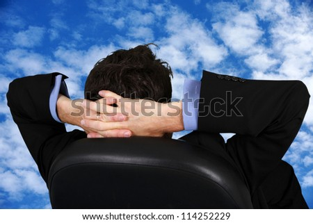 Caucasian business man working in his office - stock photo